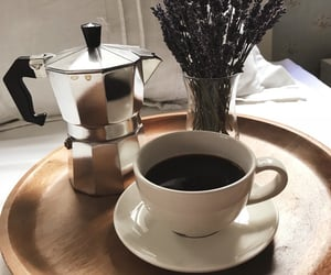 black, coffee, and flowers image