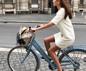 girl, fashion, and bicycle image