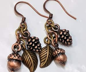 etsy, leaf earrings, and nature earrings image