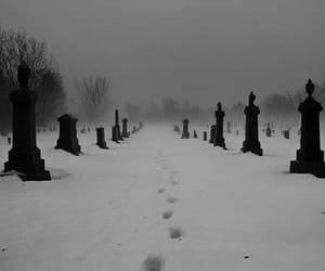 snow, cemetery, and black image