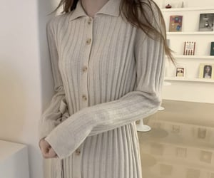 beige, beige dress, and button up image