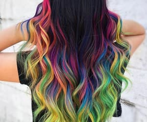 hair, hairstyle, and rainbow hair image