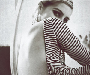black and white, edie sedgwick, and stripes image