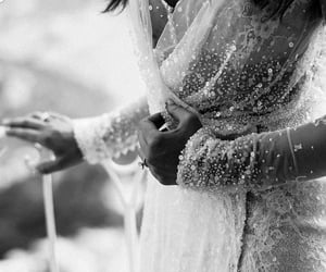 black and white, bridal, and dress image