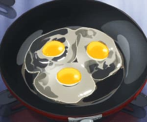 anime, eggs, and cooking image