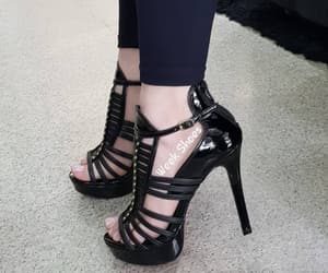 black heels, sandals, and fashion image