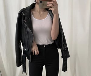 asian fashion, leather, and asian girl image