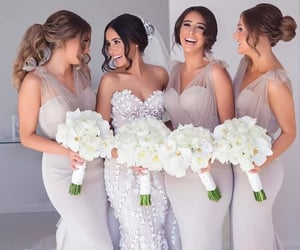 bride, friendship goals, and bridemaids image