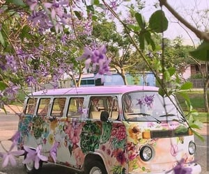 flowers, vans, and hippie image