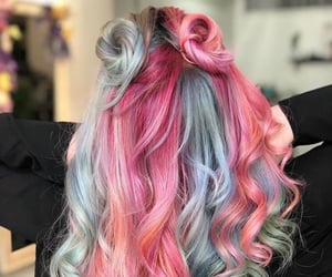 buns, colored hair, and hair image