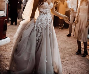 bride, dress, and long image