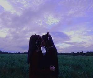 lesbian, girls, and kiss image
