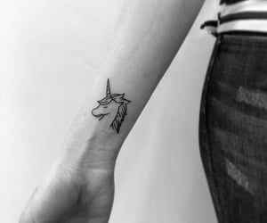 arm, tattoo, and unicorn image