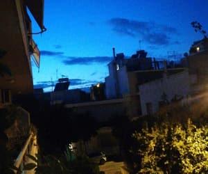 balcony, city, and blue image
