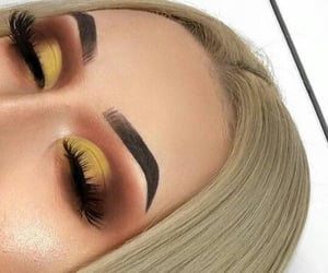 makeup, eyes, and blonde image