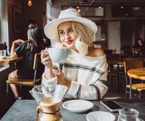blonde, coffee, and fall image