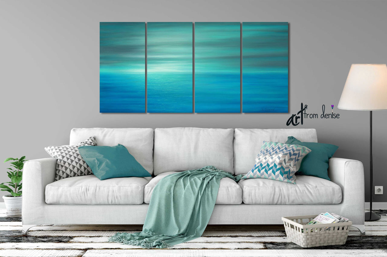 Awesome Sunset Ocean Abstract Canvas Art Teal Gray Wall Art For Evergreenethics Interior Chair Design Evergreenethicsorg