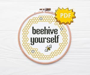 etsy, bee cross stitching, and word puns craft image