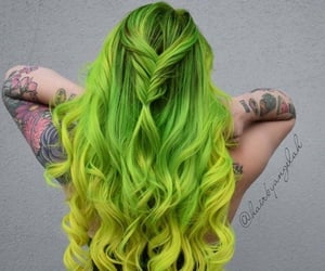 braids, colored hair, and green hair image