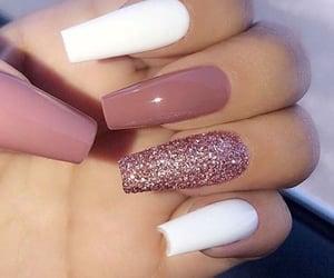 long nails, glitter nails, and pink glitter image
