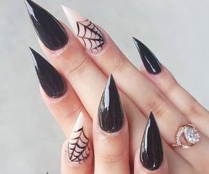 black nails, latex, and long nails image