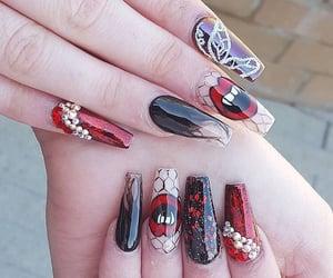 black nails, nail art, and summer nails image