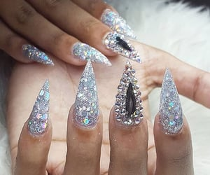 long nails, glitter nails, and sparkle nails image