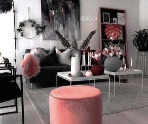 decor, living room, and pink image