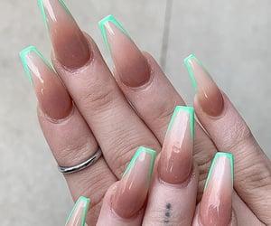 green nails, long nails, and nail art image