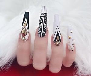 black nails, nail art, and silver nails image