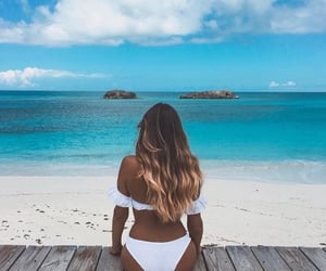 beach, hair, and places image