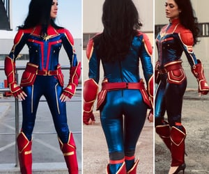 costume, captain marvel, and cosplay costume image