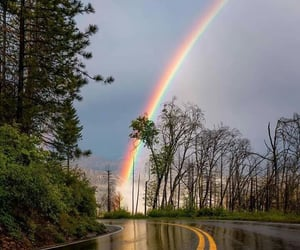 nature, road, and rainbow image