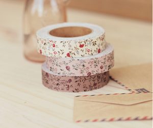 tape, floral, and flowers image