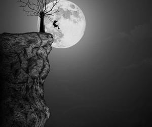 moon, tree, and black image