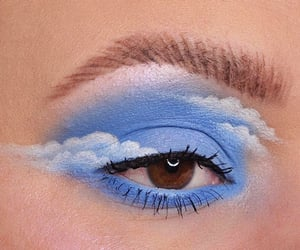 blue, makeup, and clouds image