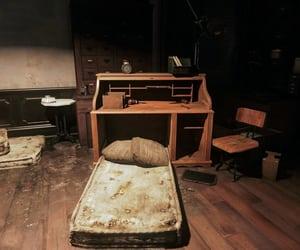 bed, dark, and desk image