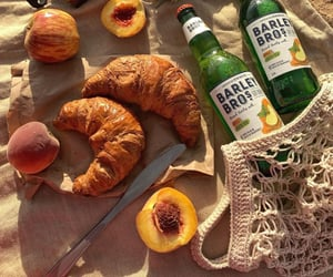 apricots, beverage, and bread image
