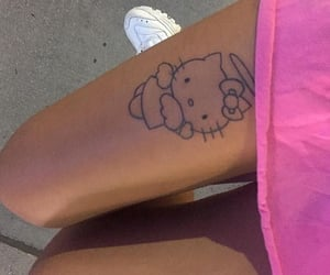 tattoo, hello kitty, and pink image