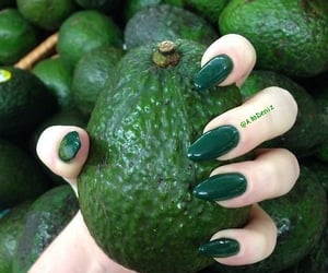 green, nails, and fruit image