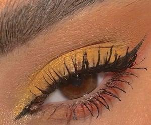 eyeshadow, yellow, and eyeliner image