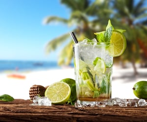 beach, drinks, and lemon image
