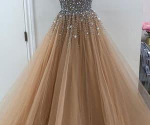 champagne prom dress, elegant prom dresses, and beaded prom dress image