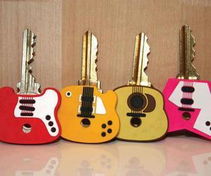 key, guitar, and music image