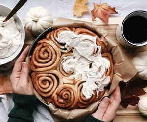 autumn, cinnamon roll, and dessert image
