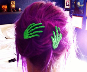 hair, purple, and green image