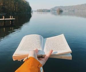 book, lake, and nature image