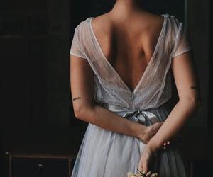 blue dress, bride, and wedding dress image