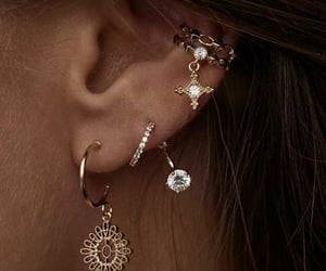earrings, woman, and fashion image