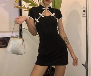 accessories, bag, and black dress image